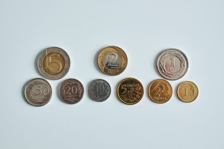 Polish zloty (PLN) coins - 5, 2, 1 zl, and 50, 20, 10, 5, 2, and 1 grosz (groszy)